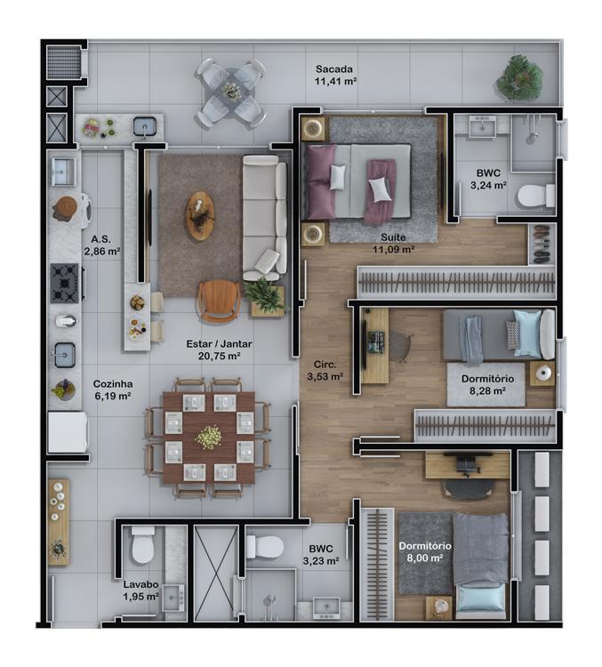 Apartamentos final 4 e 5 (Planta)