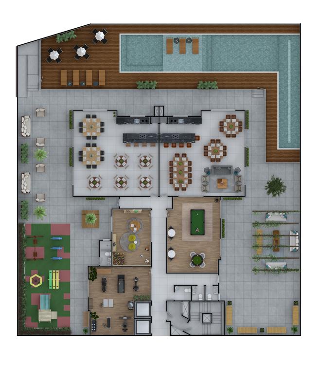 Pavimento área de lazer (Planta)