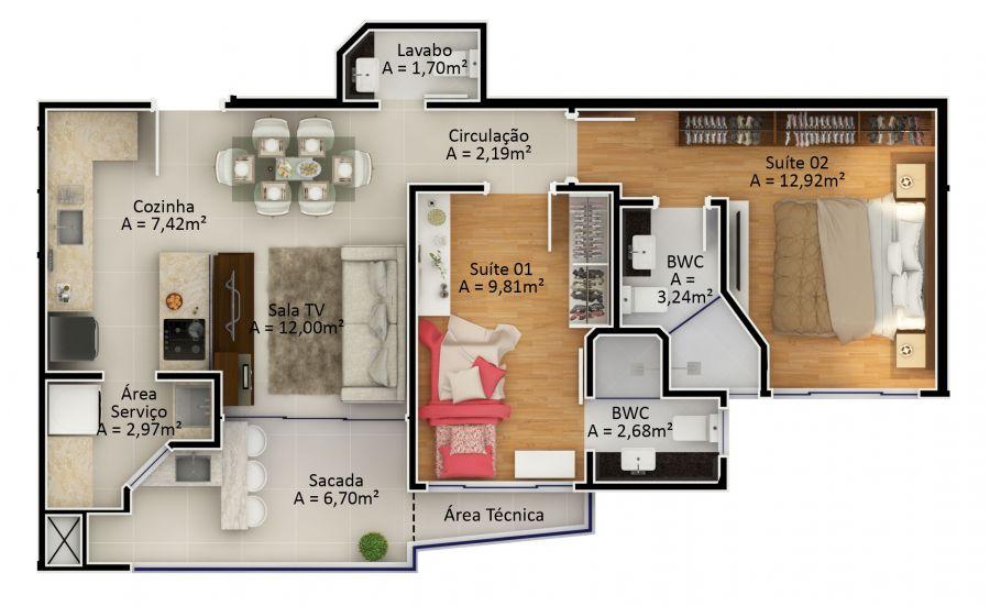 Apartamento Tipo 3 (Planta)