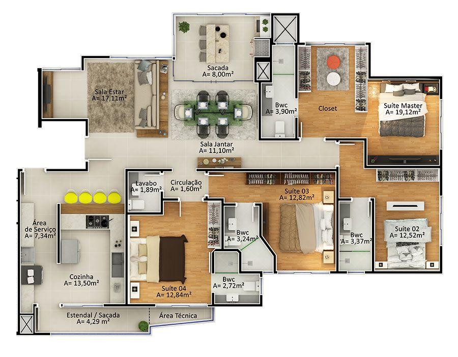 Apartamento 4 suítes Tipo 1 (Planta)