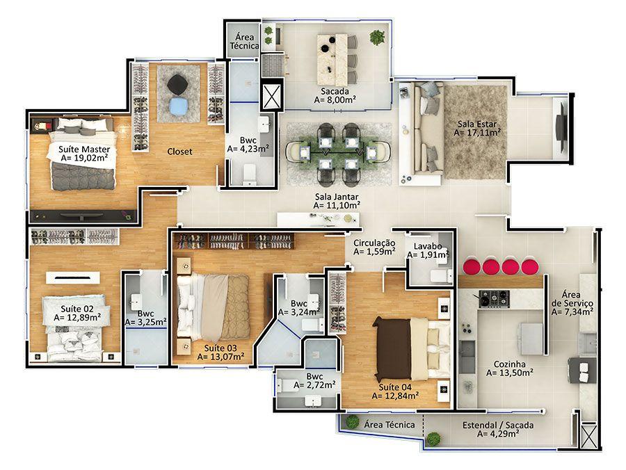 Apartamento 4 suítes Tipo 2 (Planta)